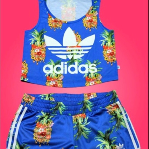 08a4edaa1ca Adidas Pants - Adidas Pineapple crop top and shorts set