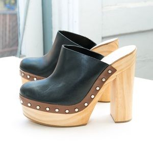 Zara leather studded clog, wood block heel slip on