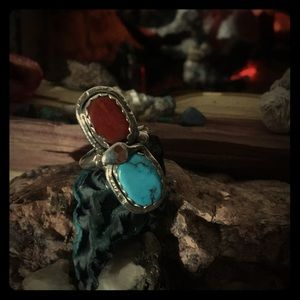Jewelry - Effie C. Zuni coral&sleeping beauty turquoise ring