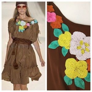 Brown Silk Runway Peasant Dress by Milly NY