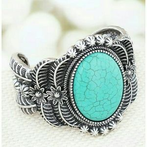Western Turquoise Floral Open Cuff