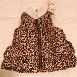 Little Lass Other - Little Lass Leopard Vest w/faux Fur 24M
