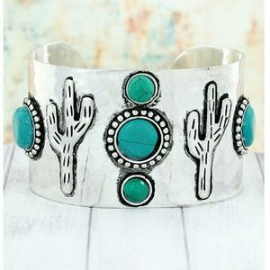  Silver 'Cactus and Turquoise' Western Cuff 