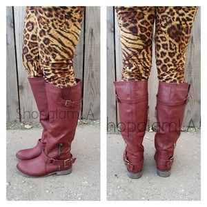 Red Burgundy riding buckle boots
