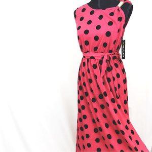 30%/2MODA NEW Medium Pink Black Midi Maxi Dress