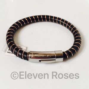 Italgem Other - Italgem Black Leather Steel Gold Wrapped Bracelet