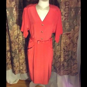 Bari Chase Dresses & Skirts - Vtg 100% silk coral day dress gold buttons
