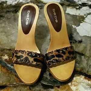Bebe genuine fur stilettos. Size 6  4.5 Heel