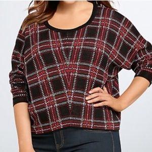 Plaid crop top sweater