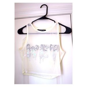 "Dollskill ""Wet"" Mesh Crop Top"