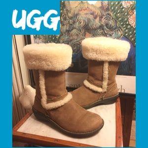 UGG Shoes - SALE🌷SZ 7-UGG CHESTNUT LEATHER/SHEEPSKIN BOOTS
