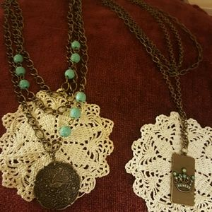 Authentic Original Vintage Style Jewelry - 2 NEW bronzey multi chain retro necklaces