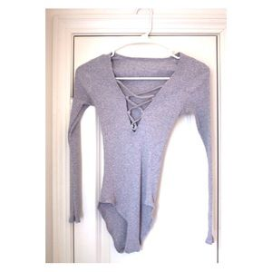 Tops - Gray Ribbed Lace Up Bodysuit