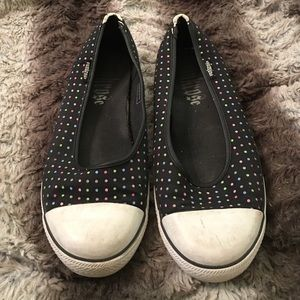punkrose Shoes - Pink rose Black polka dot converse style shoes