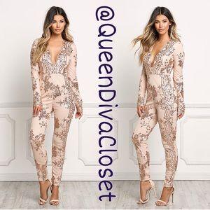 Queen Diva's Closet Pants - Rose gold nude mauve sequin lace jumpsuit romper