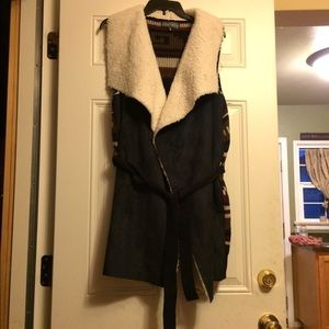 Almost Famous Jackets & Blazers - Worn Once Almost Famous Faux Sheep and Swede Vest