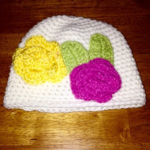 Other - 🆕Handmade Crocheted White HatW/Pink&Yellow Flower