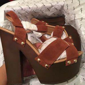Qupid Shoes - Rustic Suede Chunky Platform Heels