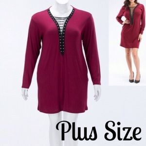 The Blossom Apparel Dresses & Skirts - 🆕JUST IN!LACE UP TRIM BURGUNDY DRESS PLUS SIZE