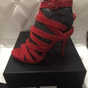 ALEXANDER WANG RED STRAPPY SANDAL HEEL SUEDE 38/7