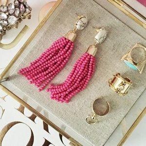 NWT Hot Pink Beaded Tassel Drop Earrings