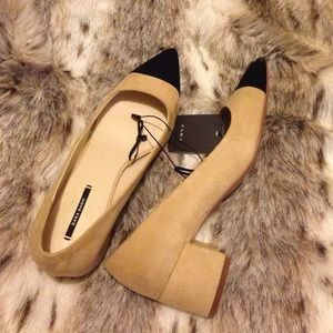83e9ab799377 Zara Shoes - Mid-heel Shoes with Contrasting Toe Cap - Sz 9