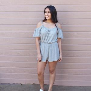 Boutique Pants - Cold shoulder Striped Romper