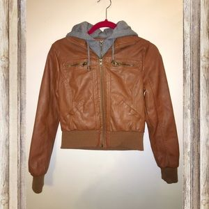 Maralyn & Me Jackets & Blazers - Brown Faux Leather Jacket