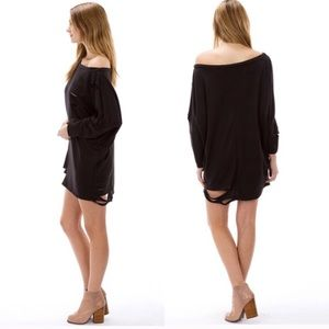 The Blossom Apparel Sweaters - Destroyed T-SHIRT SWEATER DRESS IN BLK