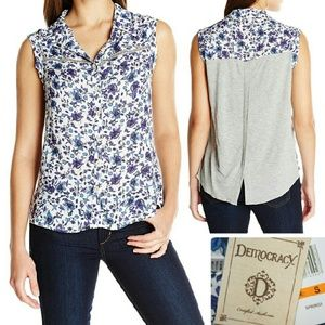 Democracy Tops - Floral Mixed Media High-Low Button Up Top NWT