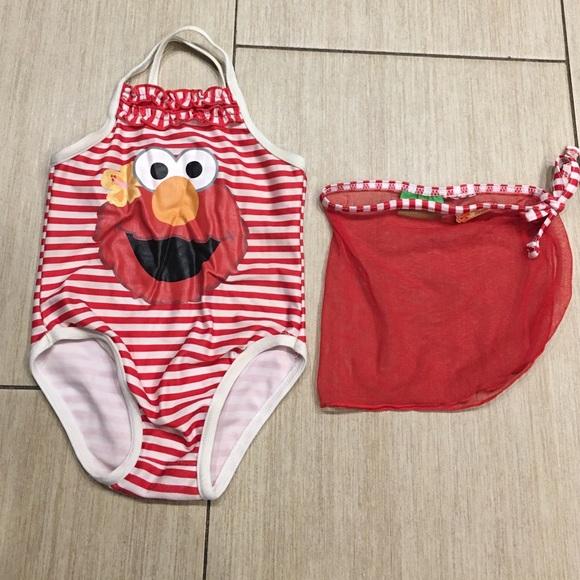 b14545842b Sesame Street Swim | Girls 18 Months Elmo Bathing Suit With Coverup ...