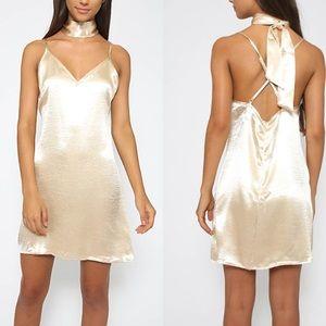 GOLD / champaign silk satin slip dress choker