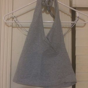 Cropped Gray Halter Top