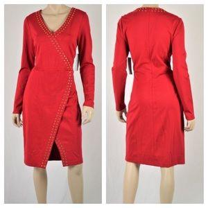 Carmen Marc Valvo Dresses & Skirts - Carmen Marc Valvo red studded asymmetrical dress