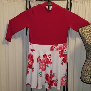 Dresses & Skirts - Red and white floral Skater plus size dress