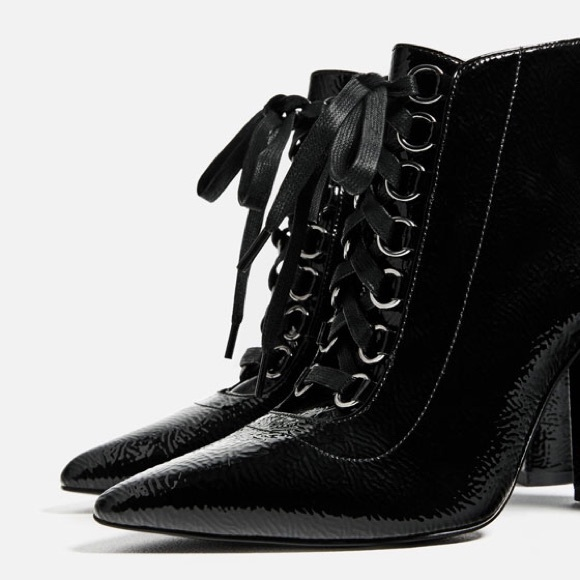 3e0970ff26267 Zara Shoes   Black Lace Up High Heel Ankle Boots Size 75   Poshmark