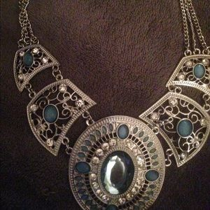 Statement necklace GORGEOUS Silver and baby blue