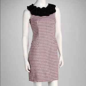Black & Pink Ruffle Houndstooth Dress 