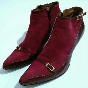 Vintage Shoes - Vintage Vero Cuoio Kitten Heel Granny Bootie Italy