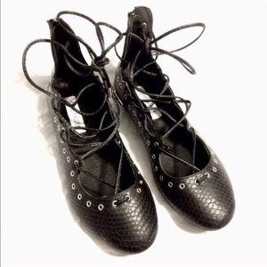 Steve Madden Shoes - STEVE MADDEN embossed lace up ballet flats