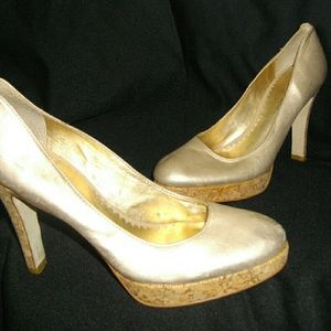 Gold Tan Jessica Simpson High Heel Cork  Shoes