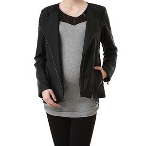 Momo Maternity Jackets & Blazers - Black Maternity Leather Jacket