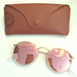 Round Ray Bans with Light Pink lens!