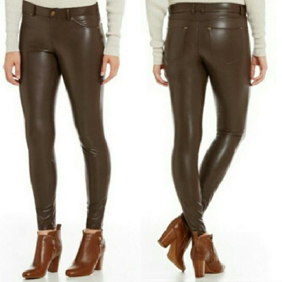 8167c55fe9e8f HUE Pants | Espresso Faux Leather Leggings | Poshmark