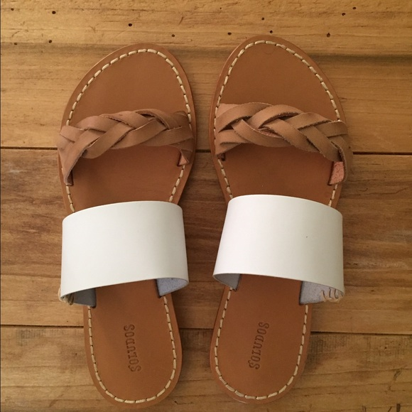 33a5d8f69bd7 Soludos Braided Slide Sandals leather tan white