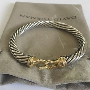 David Yurman Jewelry - David Yurman 925 & 14k 7mm Cable Buckle Bracelet