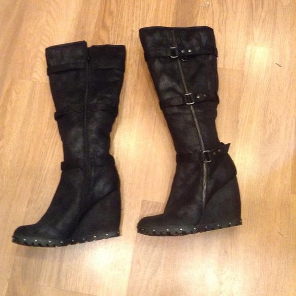 dd5fcab294bc Dollhouse Black Faux Suede Wedge Tall Boots