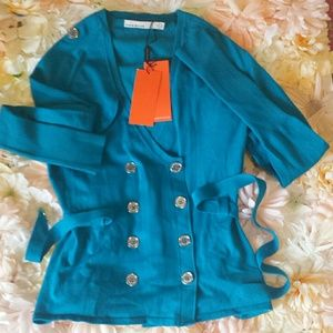 Karen millen turquoise double breasted knit sweate