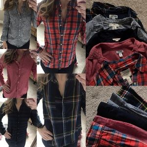 Old Navy Tops - Button shirt bundle f21 old navy H&m plaid stripe
