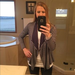 Market & Spruce Sweaters - Navy and white Polka Dot Cardigan